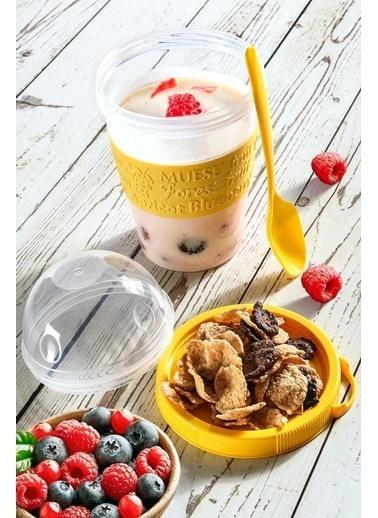 Bamovi Take'n Go Kapaklı Kaşıklı Hazırla ve Çık Meyveli Yoğurt Kabı Renkli